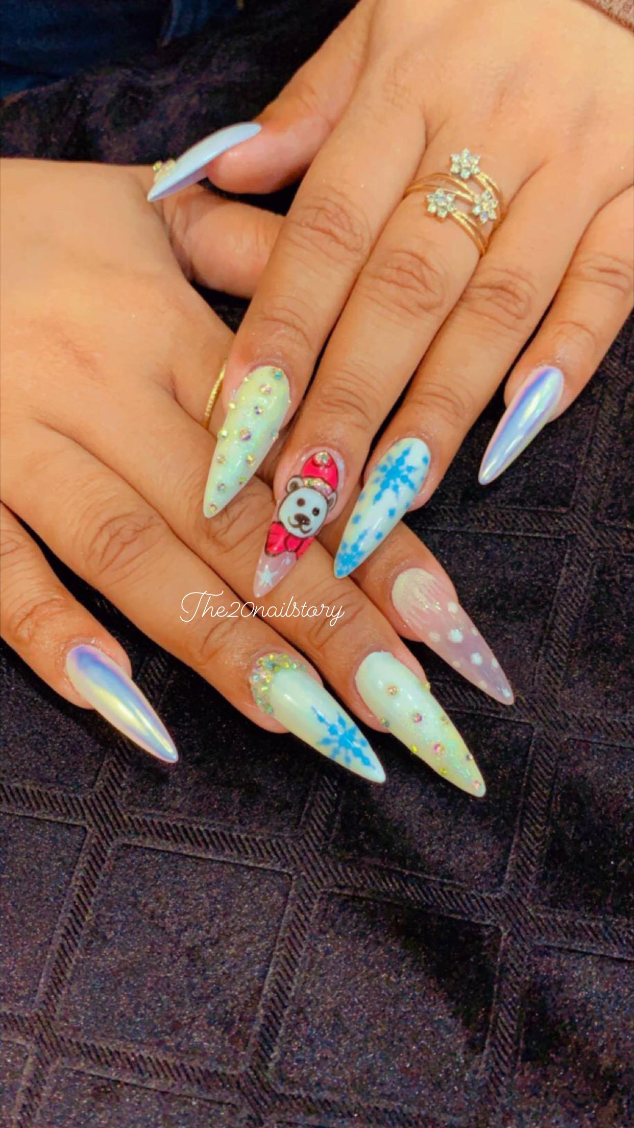 Glitter nail art, White gel nails, Classy nails