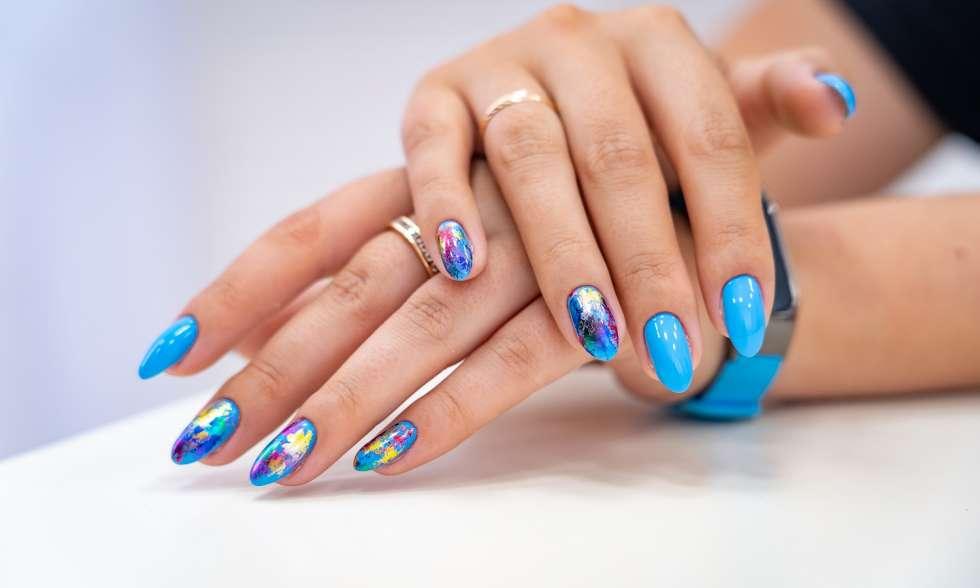 summer season blue nail art