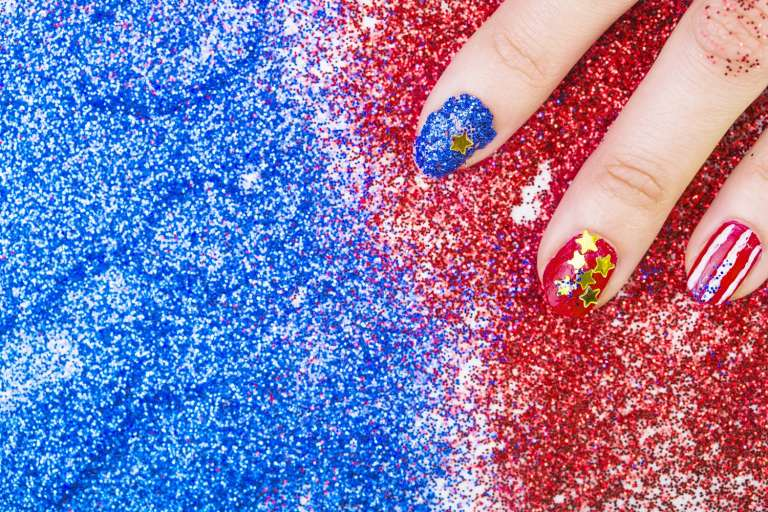red blue sparkle nail art