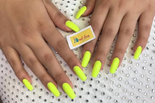 nail extension kolkata in yellow color