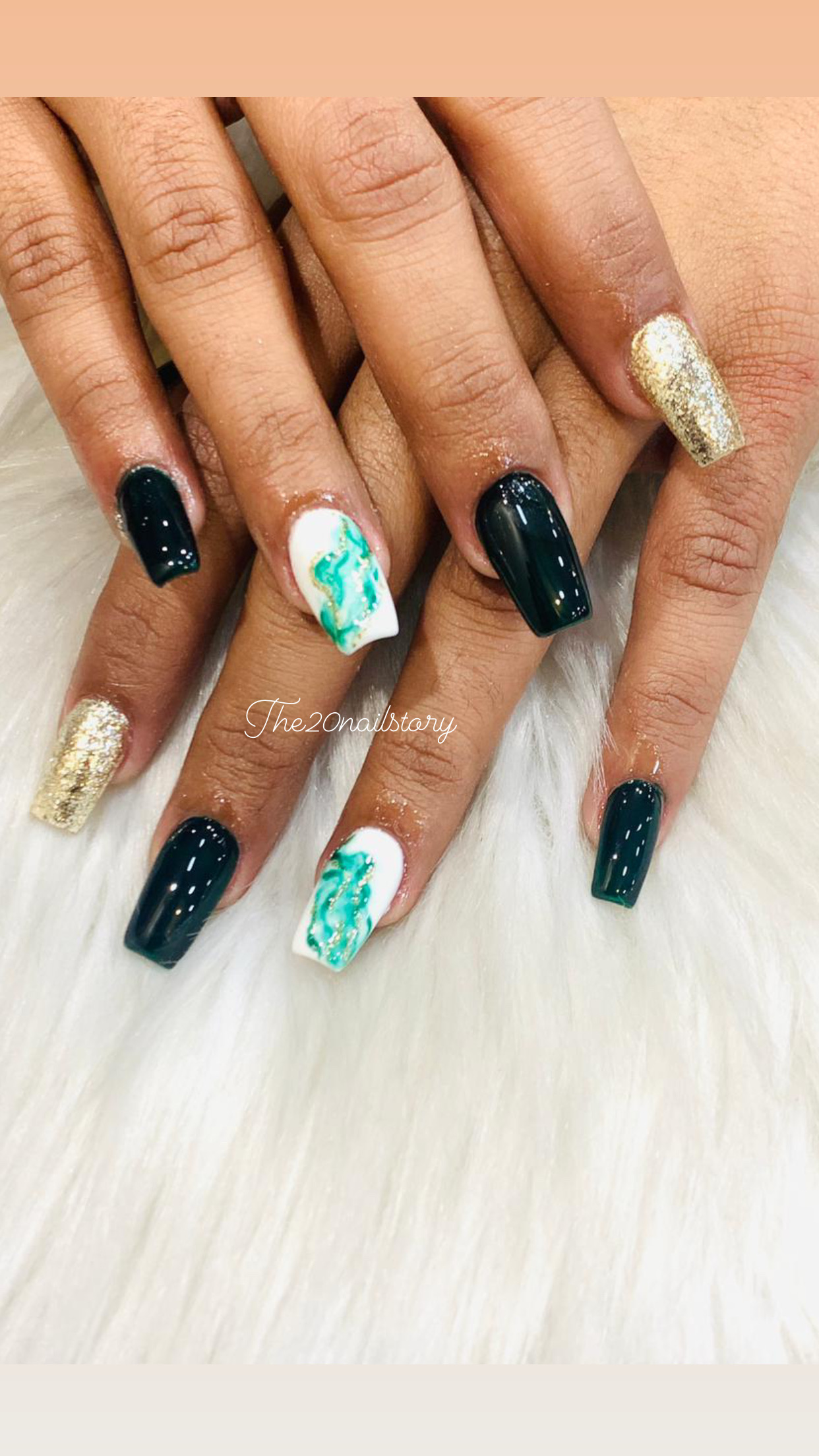 golden, white and black color nail art