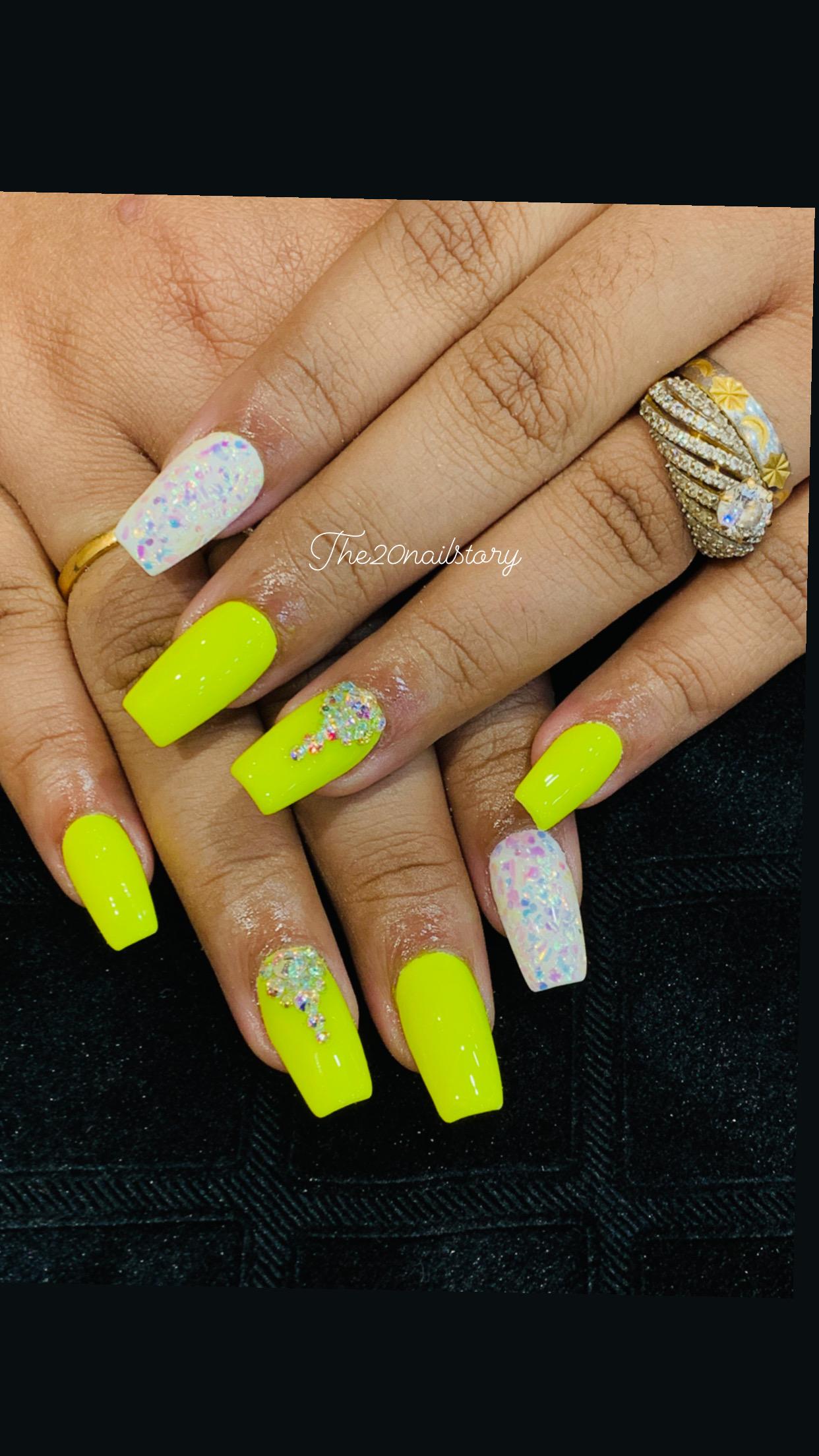 yellow and white color nail art in kolkata