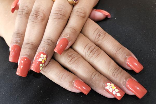 burnt coral color nail art design